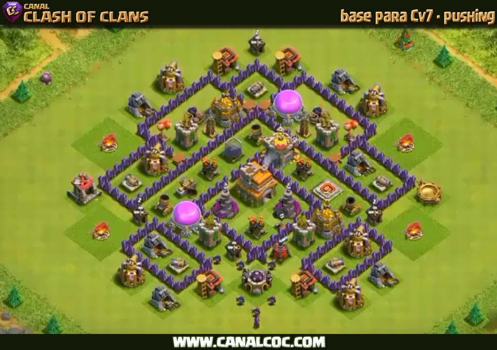 base cv7 pushing 198 canal clash of clans