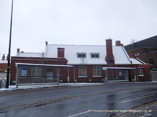 Former Church Gate school Loughborough with snowy roof
