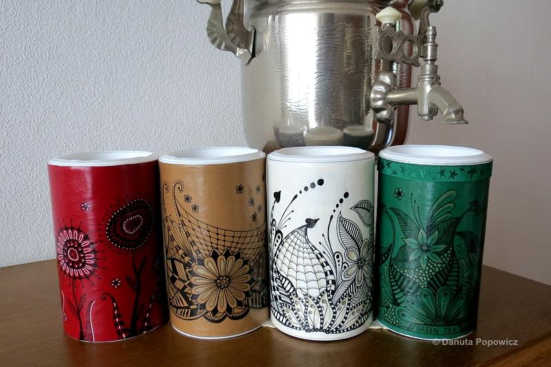 Kolorowe puszki na herbatę w stylu Zentangle
