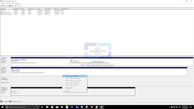 Creando nuevo volumen con el Administrador de discos de Windows 10