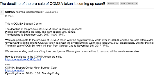 The deadline of the pre-sale of COMSA token is coming up soon!