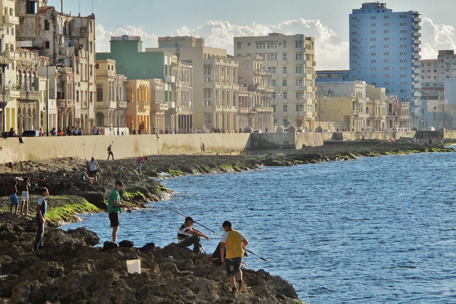 Malecón em Havana, na chegada em Cuba