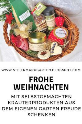 Frohe-Weihnachten-Geschenkskorb-Kräuterprodukte-Pin-Steiermarkgarten