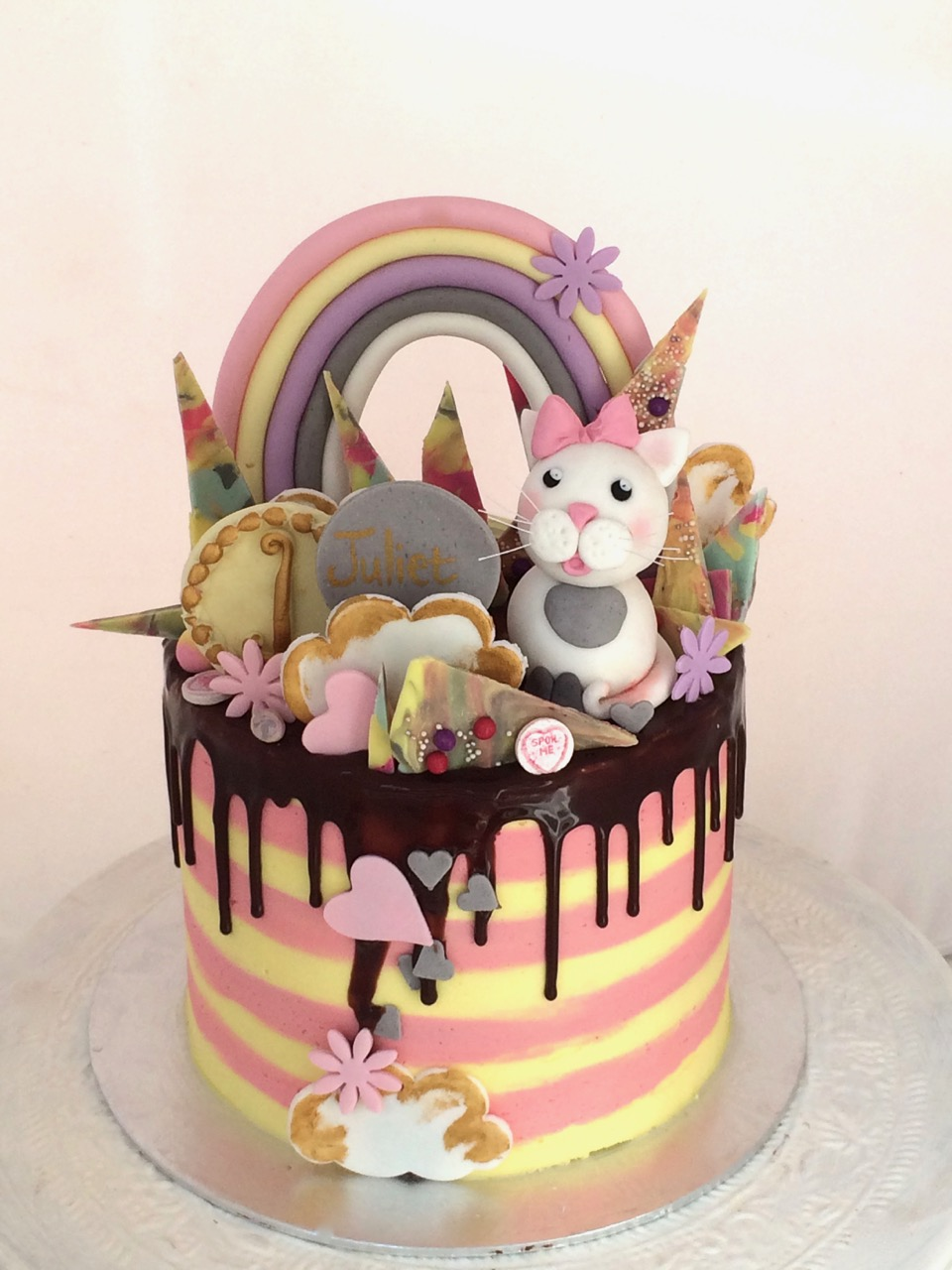 Enjoyable Rozannes Cakes Cat Crazy Cake For A First Birthday Funny Birthday Cards Online Hetedamsfinfo