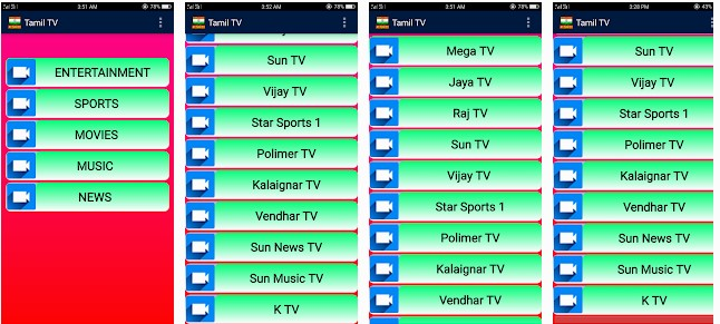 Tamil Live TV Channels Android App on Playstore Link