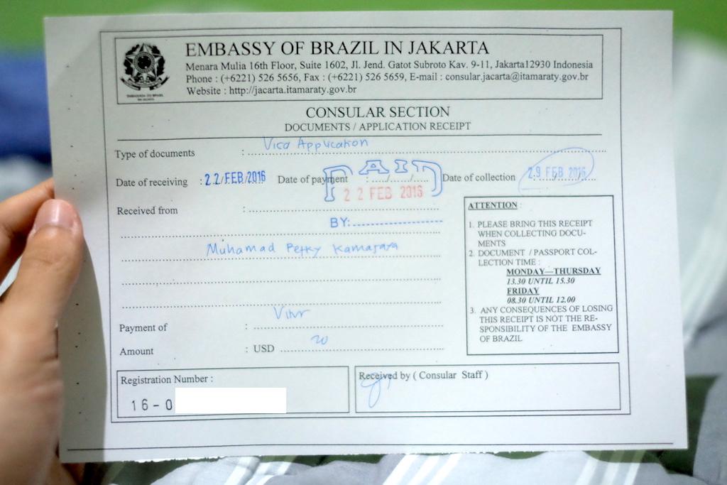Pengalaman Mengurus Visa Brazil di Jakarta - Visa Brazil Receipt
