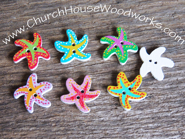 DIY Sewing Starfish Buttons by Church House Woodworks- Beach, Nautical,