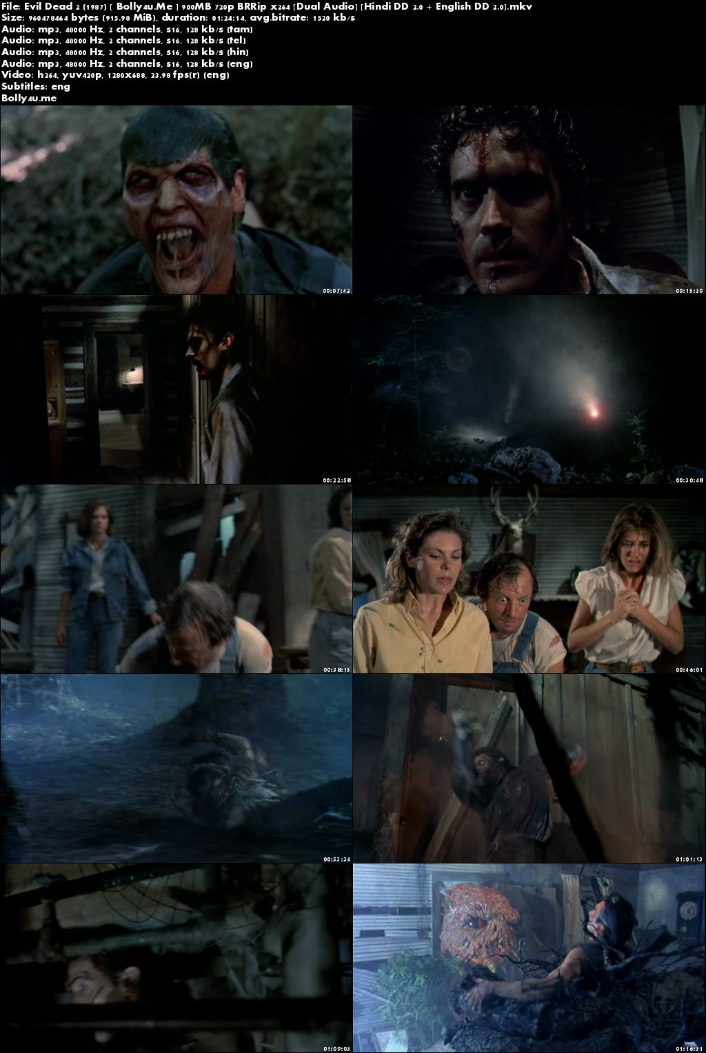 Evil Dead 2 1987 BRRip 900MB Hindi Dual Audio 720p Download
