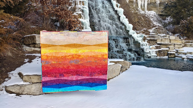 Sunset quilt made with Island Batik fabrics and Aurifil thread