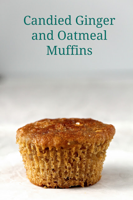 Candied Ginger and Oatmeal Muffins combine the goodness of oatmeal, whole wheat flour, and candied ginger.