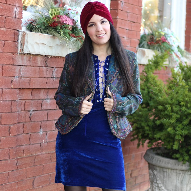 Blue Velour Dress