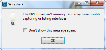 The Npf Driver Isn'T Running. You May Have Trouble