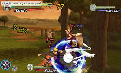 Naruto Shippuden Ultimate Ninja Heroes 3 PSP game battle Naruto Sakura vs Kakashi