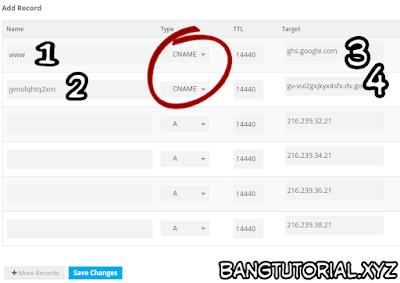 Mengatur DNS Blogger di Pengaturan Freenom