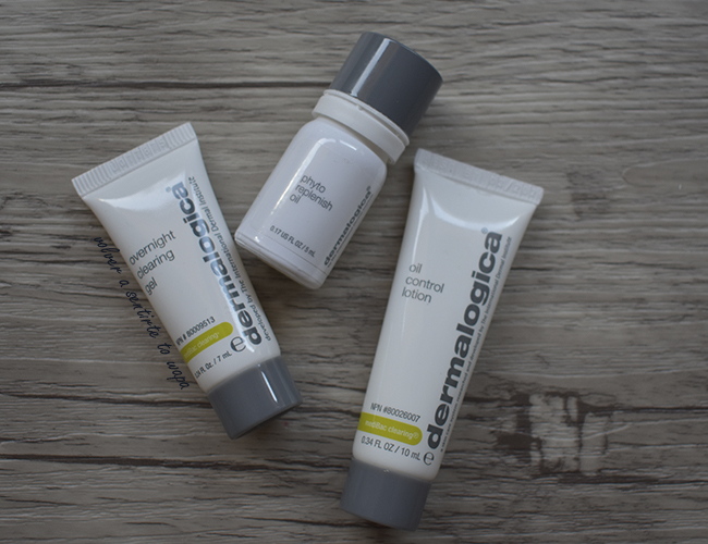 Muestras de Dermalogica: Overnight Clearing Gel, Phyto Replenish Gel y Oil Control Lotion.