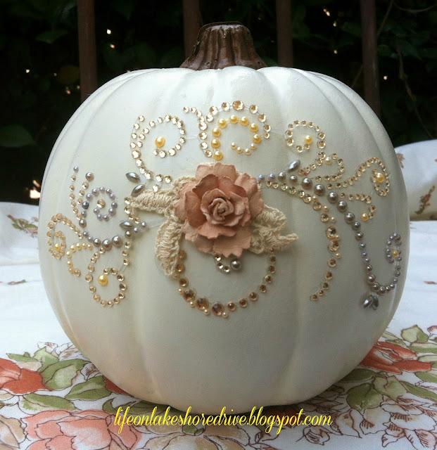 Pumpkin glitter and glitz decorate pumpkin with rhinestone appliques