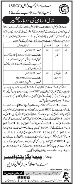 Jobs In Sindh Healthcare Commission Karachi 2018 for 2 Vacancies