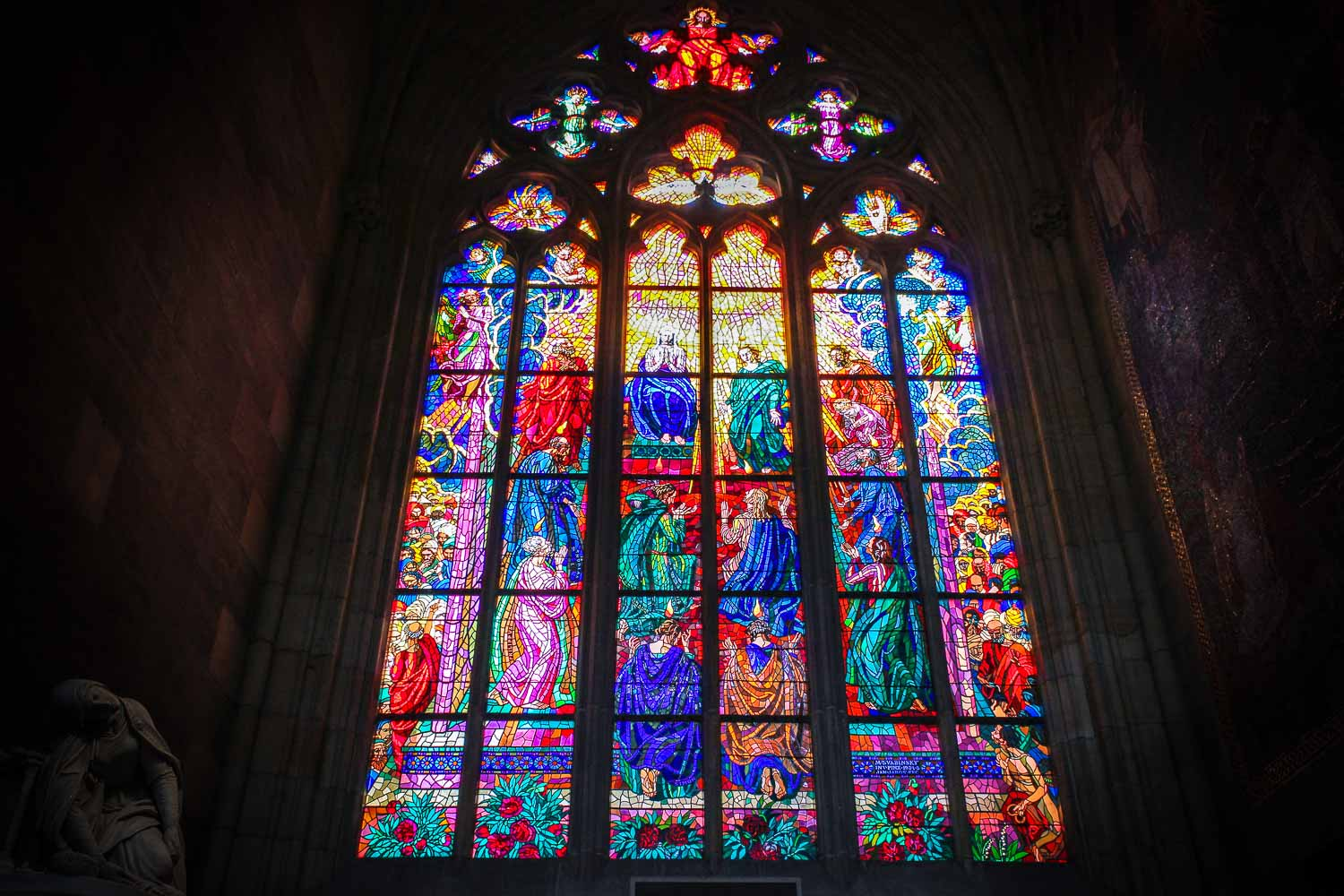 st vitus cathedral prague stained glass window