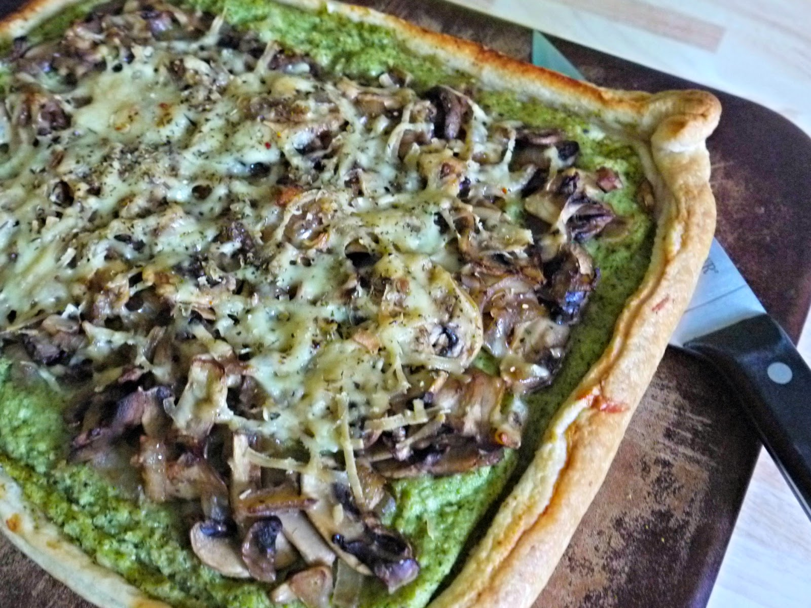 Broccoli Pesto and Mushroom Open Topped Pie