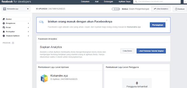 Halaman Dasbor Aplikasi Facebook