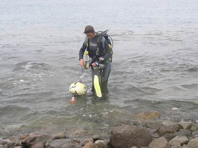 Photo of Ellis exiting the water after a dive on Gran Canaria