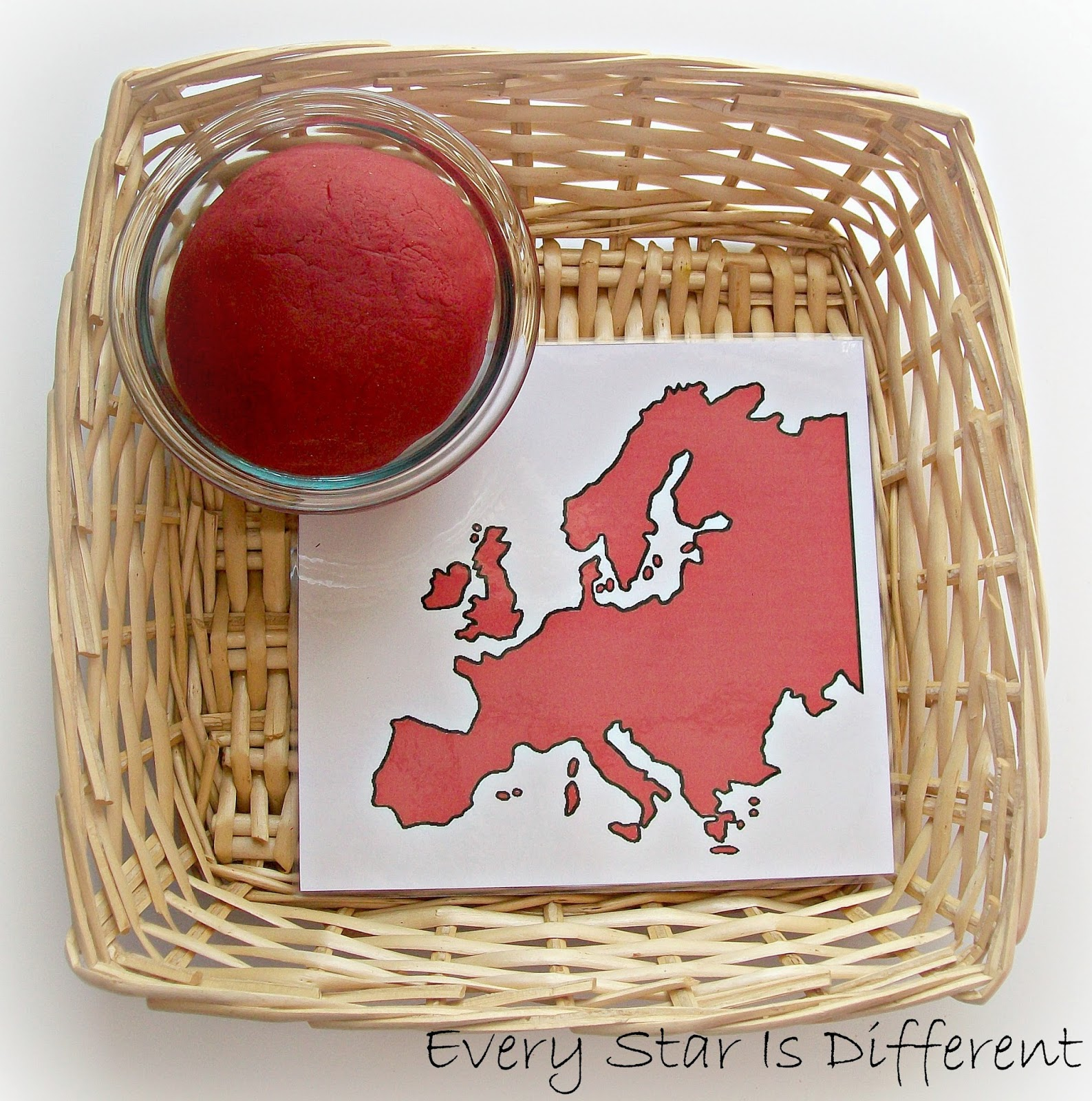 Montessori-inspired Europe Play Dough Activity for Kids (free printable)