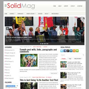 SolidMag blog template. download 3 column blogger template style. magazine template blogspot.