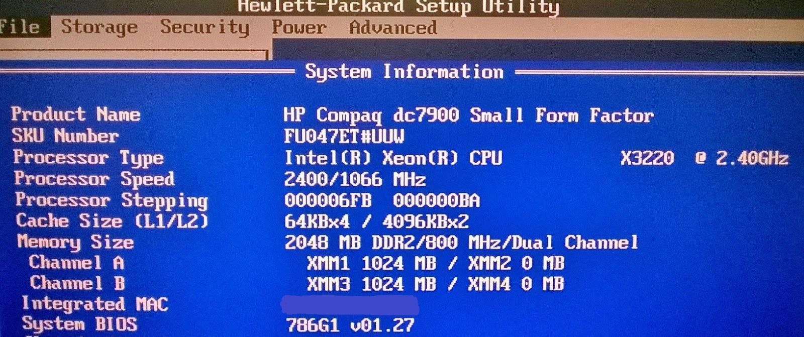 Bios Hp Compaq Dc7900 ••▷ SFB
