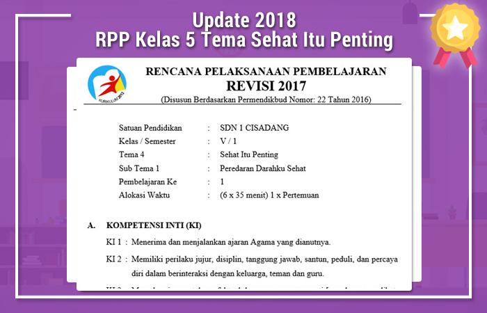 RPP Kelas 5 K13 Revisi 2017 Tema 4 Sehat itu Penting