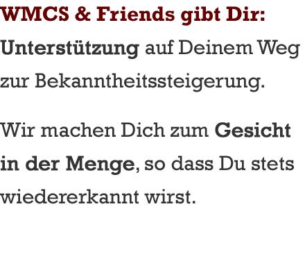 WMCS & Friends macht Dich zum Gesicht in der Menge