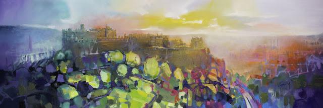 'Kastil Edinburgh', 100 x 150 cm, minyak & akrilik di linen
