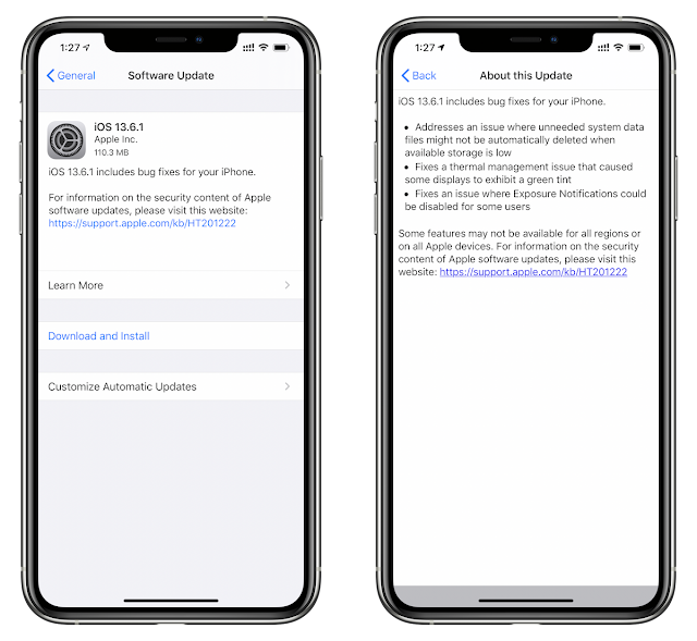 iOS  13.6.1  - 17G80 has been released for 56 devices