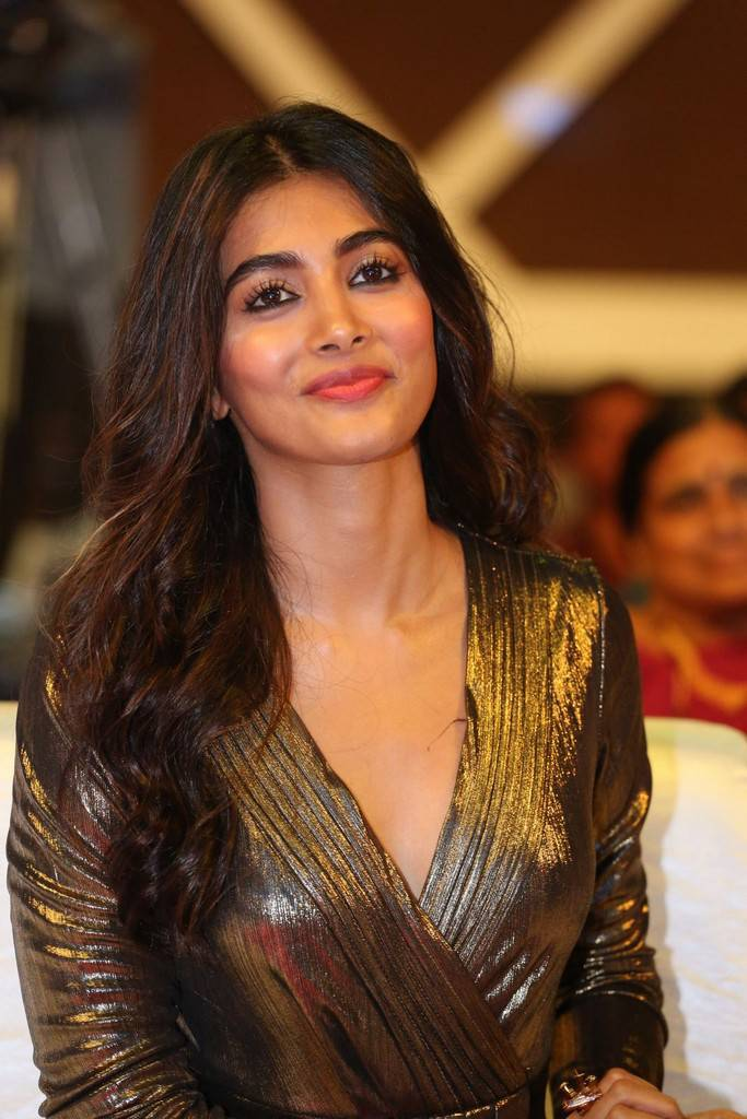 Beautiful Telugu Actress Pooja Hegde Long Legs Stills In Mini Black Dress