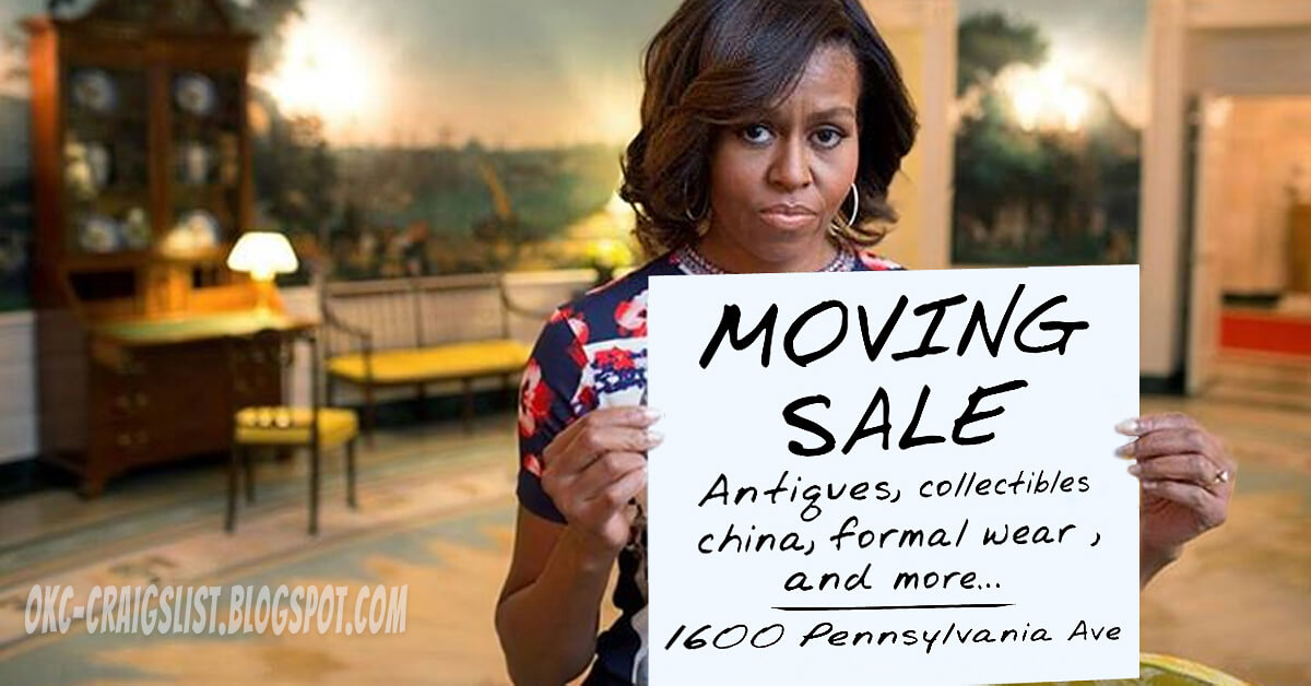 Michelle Obama holding funny Moving Sale sign