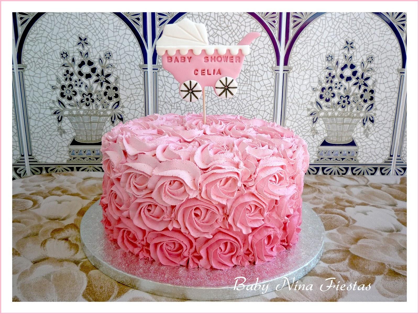 Baby nina fiestas tarta rosas para el baby shower de celia - Baby shower de nina ...