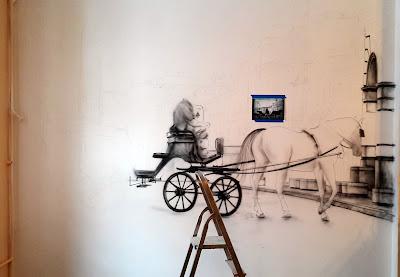 Malowanie obrazu na ścianie, aranżacja bufetu w firmie szkoleniowej, graffiti malowane na ścianach