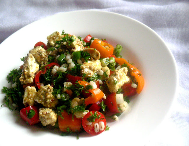 Parsley Barley Tomato Salad with Marinated Feta