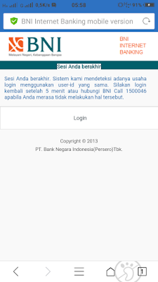 Gagal Login BNI Internet Banking