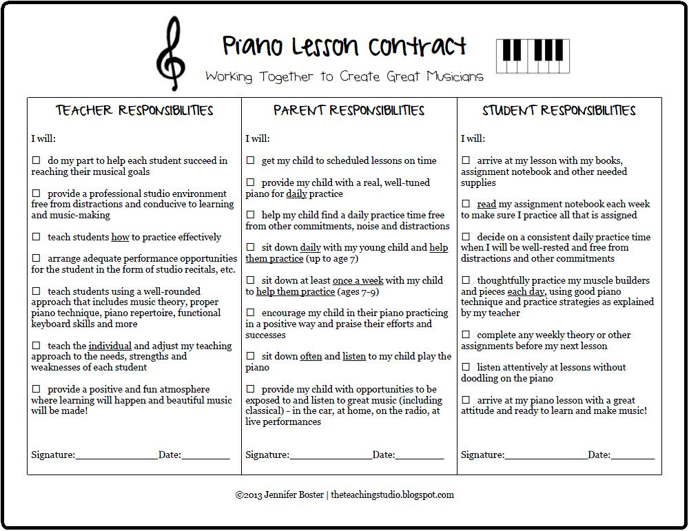 The teaching studio free printable piano lesson contract for Student teacher contract template