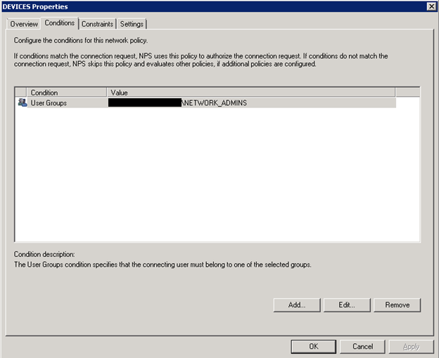 Microsoft NPS, Authenticating user for VPN and device