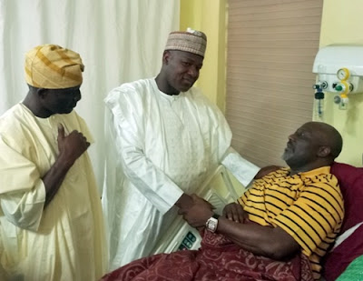Dogara, Others Visit Dino Melaye At Abuja Hospital (Photos)