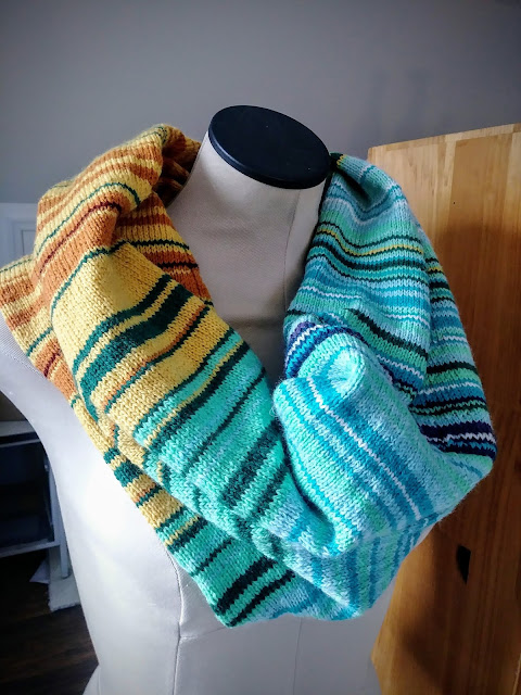 Knitted 2018 Temperature guide scarf sewn into a cowl.