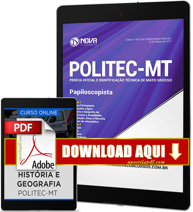 Apostila POLITEC MT 2017 PDF Download Papiloscopista