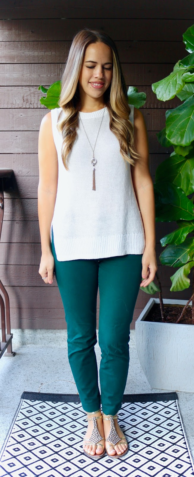 Jules in Flats - Sleeveless Tunic with Green Ankle Pants (Business Casual Summer Workwear on a Budget)