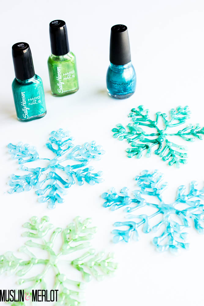 Glue Gun Snowflake Craft - Painted with Nail Polish