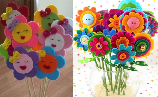 Keçeden çiçek süsleri