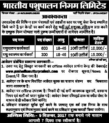 UP Pashupalan Vibhag Recruitment pashudhanuttarpradesh.com