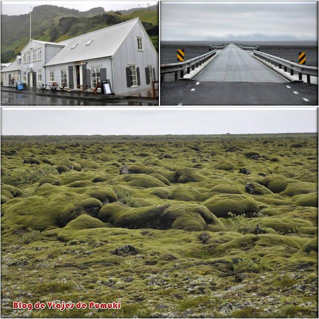Vik y paisaje del sureste de Islandia con verdes campos de musgos.