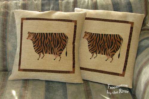 Tiger striped cow pillows @Freemotion by the River
