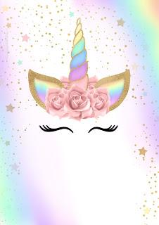 Unicornio y Arco Iris: Invitaciones para Imprimir Gratis.